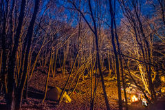Tent illuminated with campfire light Royalty Free Stock Photos