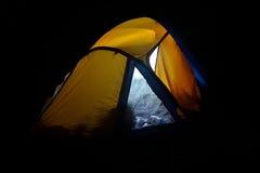 Tent illuminated at night Royalty Free Stock Images