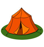 Tent illustration. Camping tent drawing Royalty Free Stock Photo