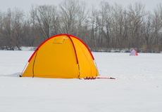 Tent - important accessory of winter fisherman. Stock Images