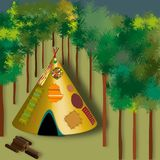 Tent of indian america in the woods- magic atmosphere vector illustration