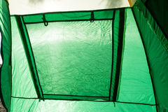 Tent inside view - closed window Stock Image