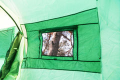 Tent inside view - window Royalty Free Stock Photos