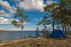 Tent by the lake. Stock Image