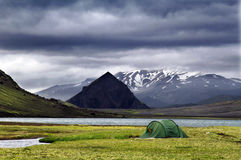 Tent on the lake coast. In mauntain Iceland Stock Photography