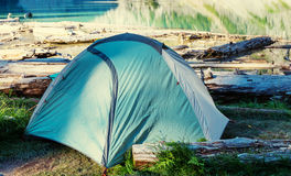 Tent on the lake Royalty Free Stock Images