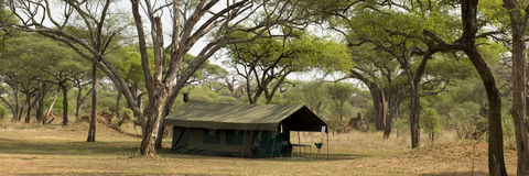 Tent in landscape, Tanzania, Africa Stock Photography