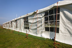 Tent Large White. Mobile on field for celebration fete event party wedding function Stock Photos