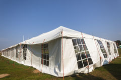 Tent Large White. Mobile on field for celebration fete event party wedding function Stock Photo