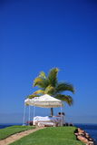 Tent for massage. In tropical area on the ocean shore Stock Photo