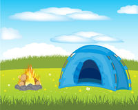 Tent on meadow Royalty Free Stock Images