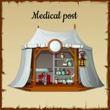 Tent medische faciliteit op een beige achtergrond Royalty-vrije Stock Foto's