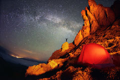 Tent and the Milky Way Stock Photography