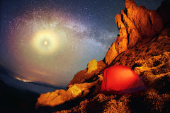 Tent and the Milky Way Royalty Free Stock Images