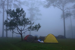 Tent and the mist Stock Photos