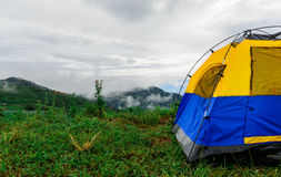 Tent and the mist. The blue tent on the mountain that can see the mist view stock photography