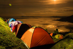 Tent  with  mist under the moonlight Stock Photo