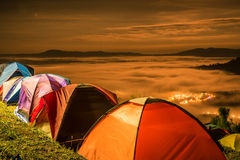Tent  with  mist under the moonlight Royalty Free Stock Images
