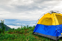 Tent and the mist view_01. The blue tent on the mountain that can see the mist view Stock Images