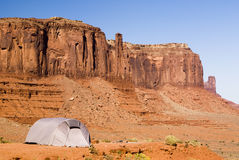 Tent in Monument Valley. Tent camping in Monument Valley Royalty Free Stock Photo