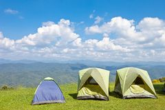 Tent on Mountain Stock Photography
