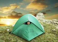 Tent in mountain Stock Photo