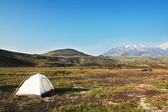 Tent in mountain Stock Image