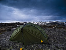 Tent on Mountain Landscape Royalty Free Stock Photography