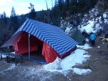 Tent on a a mountain Royalty Free Stock Photos