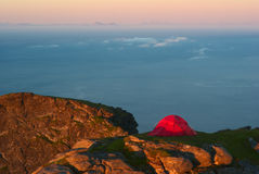 Tent on Mountain Ridge Stock Photos