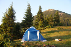 Tent in mountain scenery Stock Photos