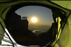 Tent on mountain side stock photos
