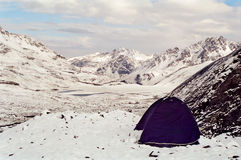 Tent on mountain summit, Peru Stock Photos