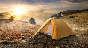 Tent on mountain Royalty Free Stock Images