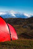Tent in mountaineous terrain Royalty Free Stock Photo