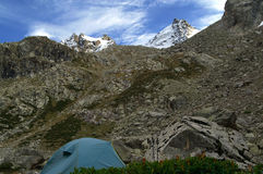 Tent in mountains. Caucasus. Elbrus region. Gorge Adyl-Su Stock Images
