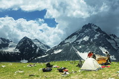 Tent in mountains Stock Photography