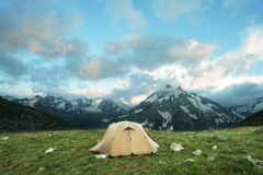 Tent in mountains Stock Photos