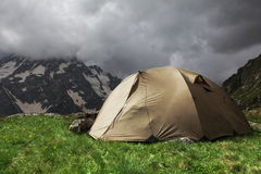Tent in mountains Royalty Free Stock Photography
