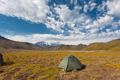 Tent in the mountains. Royalty Free Stock Images