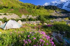 Tent in mountains Royalty Free Stock Images