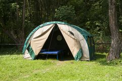 Tent in mountains - Biesczady, Poland. Tent in forest in mountains. Polish mountains - Bieszczady during summer Stock Image