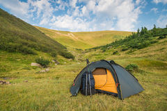 Tent in mountains Stock Image