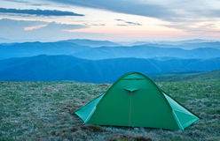 Tent in the mountains Royalty Free Stock Photography