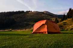 Tent on mountains field. Tent on the mountains field Stock Photos