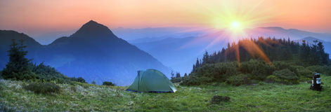 Tent in the mountains Stock Photography