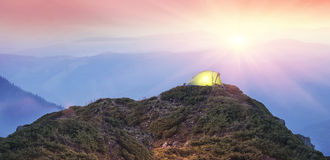 Tent in the mountains Stock Photos