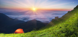 Tent in the mountains Royalty Free Stock Image