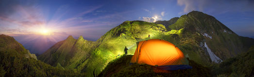 Tent in the mountains Stock Image