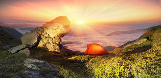 Tent in the mountains Royalty Free Stock Photo